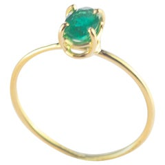 Intini Jewels Emerald Oval 18 Karat Gold Cocktail Solitaire Handmade Chic Ring
