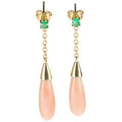 Intini Jewels Emerald Pink Coral Drops Tear 18 Karat Gold Cocktail Stud Earrings