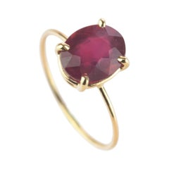 Intini Jewels Faceted Ruby 18 Karat Yellow Gold Band Handmade Chic Modern Ring