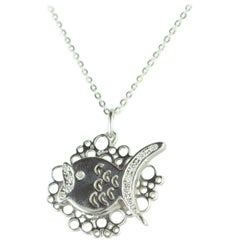 Intini Jewels Fish Diamond Pendant White Gold Chain Carved Piscis Gala Necklace