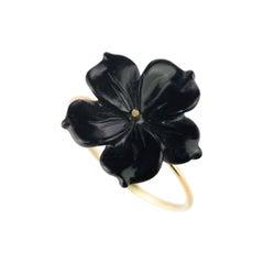 Intini Jewels Flower 18 Karat Gold Black Agate Handmade Italian Cocktail Ring