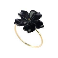 Intini Jewels Flower 9 Karat Gold Black Agate Handmade Italian Cocktail Ring