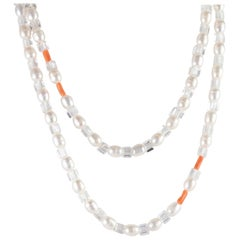 Intini Jewels Freshwater Pearl Wrap Around Long Chain 925 Silver Beaded Necklace