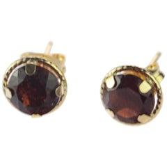 Intini Jewels Garnet Brilliant Cut 18 Karat Yellow Gold Stud Handmade Earrings