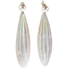 Intini Jewels Gold Carved Mother Pearl Freshwater Pearl Drops Dangle Earrings