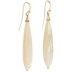 Intini Jewels Gold Carved Mother Pearl Natural Color Tear Drops Dangle Earrings
