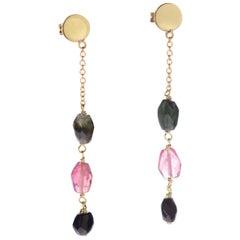 Intini Jewels Gold Plate Chain Tourmaline Oval Drop Dangle Earrings