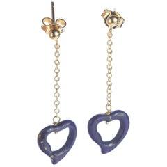 Intini Jewels Lapis Lazuli Heart Yellow Gold Drop Valentine's Day Love Earrings