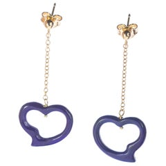 Intini Jewels Lapis Lazuli Heart Yellow Gold Drop Valentine's Day Love Earrings