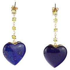Intini Jewels Lapis Lazuli Peridot Heart 18 Karat Yellow Gold Drop Love Earrings