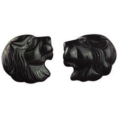 Intini Jewels Lion Head 9 Karat Gold Black Agate Stud Handmade Italian Earrings