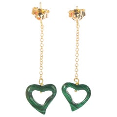 Intini Jewels Malachite Heart Yellow Gold Drop Valentine's Day Love Earrings