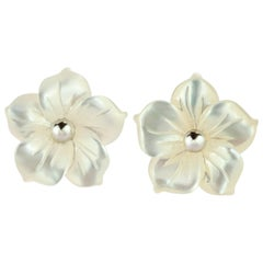 Intini Jewels Mother of Pearl Carved Flower Stud Silver Crafted Girl Earrings