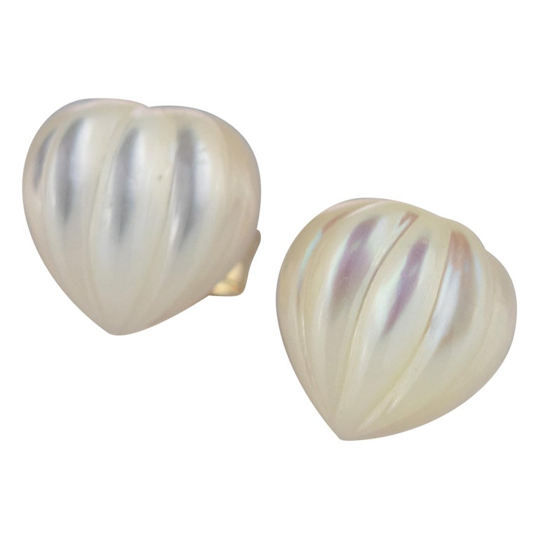 Intini Jewels Mother of Pearl Carved Heart 18 Karat Yellow Gold Artisan Earrings For Sale