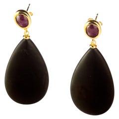 Intini Jewels Natural Ruby Black Agate 18 Karat Gold Tear Drop Cocktail Earrings