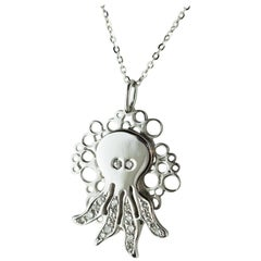 Intini Jewels Octopus Diamond White Gold Chain Carved Animal Deco Necklace