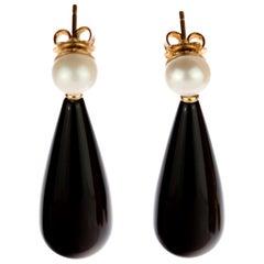 Intini Jewels Natural Pearl Black Agate 18 Karat Gold Tear Drop Bold Earrings