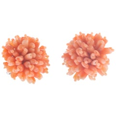 Intini Jewels Pink Mediterranean Coral Flower Handmade Clip-On Cocktail Earrings