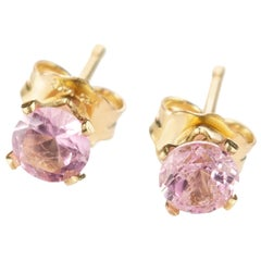 Intini Jewels Pink Tourmaline Point of Light 14 Karat Gold Filled Stud Earrings