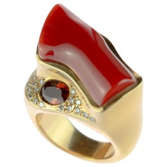 Intini Jewels Red Coral Ruby Diamond 18 Karat Yellow White Gold Cocktail Ring