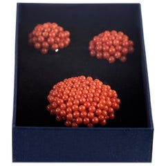 Intini Jewels Red Mediterranean Coral Flower Cocktail Round Brooch Earrings Set