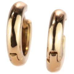 Intini Jewels Round 18 Karat Yellow Gold Hoop Mini Shiny Crafted Girl Earrings