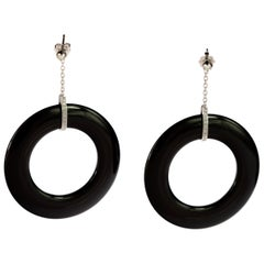 Round Diamond Stud Black Agate Donut 18 Karat Gold Drop Earrings