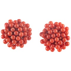 Intini Jewels Round Red Mediterranean Coral Flower Handmade Clip-On Earrings