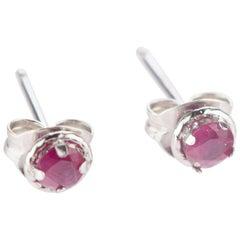 Intini Jewels Ruby 18 Karat White Gold Round Stud Cocktail Handmade Earrings
