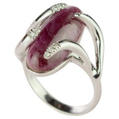 Intini Jewels Ruby Diamond 18 Karat Gold Oval Cut Cocktail Handmade Serpent Ring