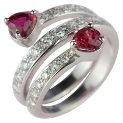 Intini Jewels Ruby Diamond 18 Karat White Gold Spiral Contrarie Ring