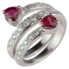 Intini Jewels Ruby Diamond 18 Karat White Gold Spiral Contrarié Serpent Ring