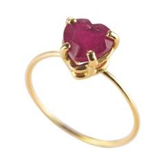 Intini Jewels Ruby Heart 18 Karat Yellow Gold Valentine's Romantic Love Ring