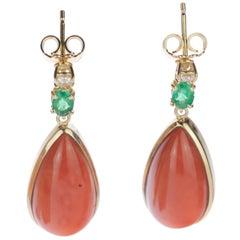 Intini Jewels Salmon Coral Tear Emerald Diamond 18 Karat Gold Stud Drop Earrings