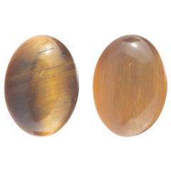 Intini Jewels Tiger's Eye Oval Cabochon 18 Karat Gold Stud Cocktail Earrings