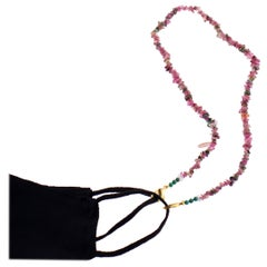 Intini Jewels Tourmaline Beaded String Handmade Face Mask Holder Necklace