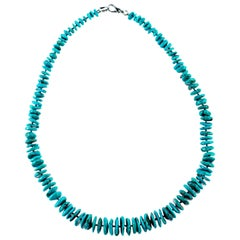 Intini Jewels Turquoise Washers Chips Beaded Sterling Silver Boho Chic Necklace