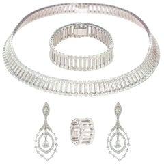 Intini Jewels Victorian 20.22 Carat 18 Karat White Gold Diamond Brilliant Set