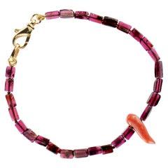 Intini Jewels Violet Garnet Coral Horn Sterling Silver Beaded Boho Vibe Bracelet