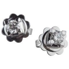 Intini Jewels White Gold 0.27 Karat Diamond Point of Light Crafted Stud Earrings