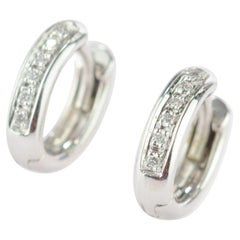 Intini Jewels White Gold Diamond Brilliant Round Hoop Engagement Bridal Earrings