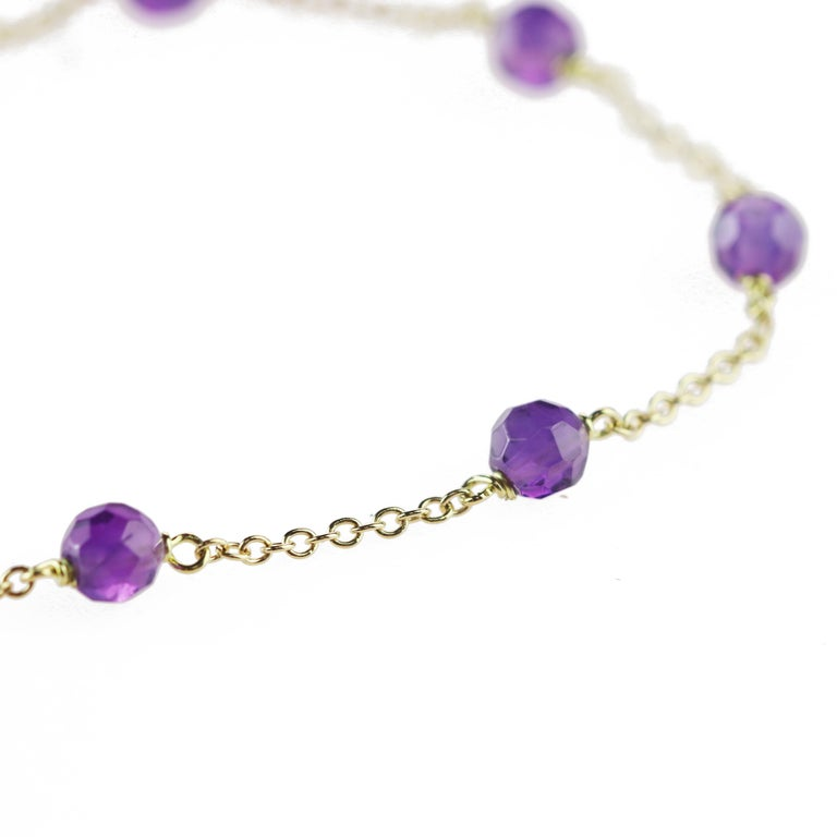 Intini Jewels 18 Karat Gold Chain Amethyst Rondelles Handmade Cocktail Bracelet In New Condition For Sale In Milano, IT