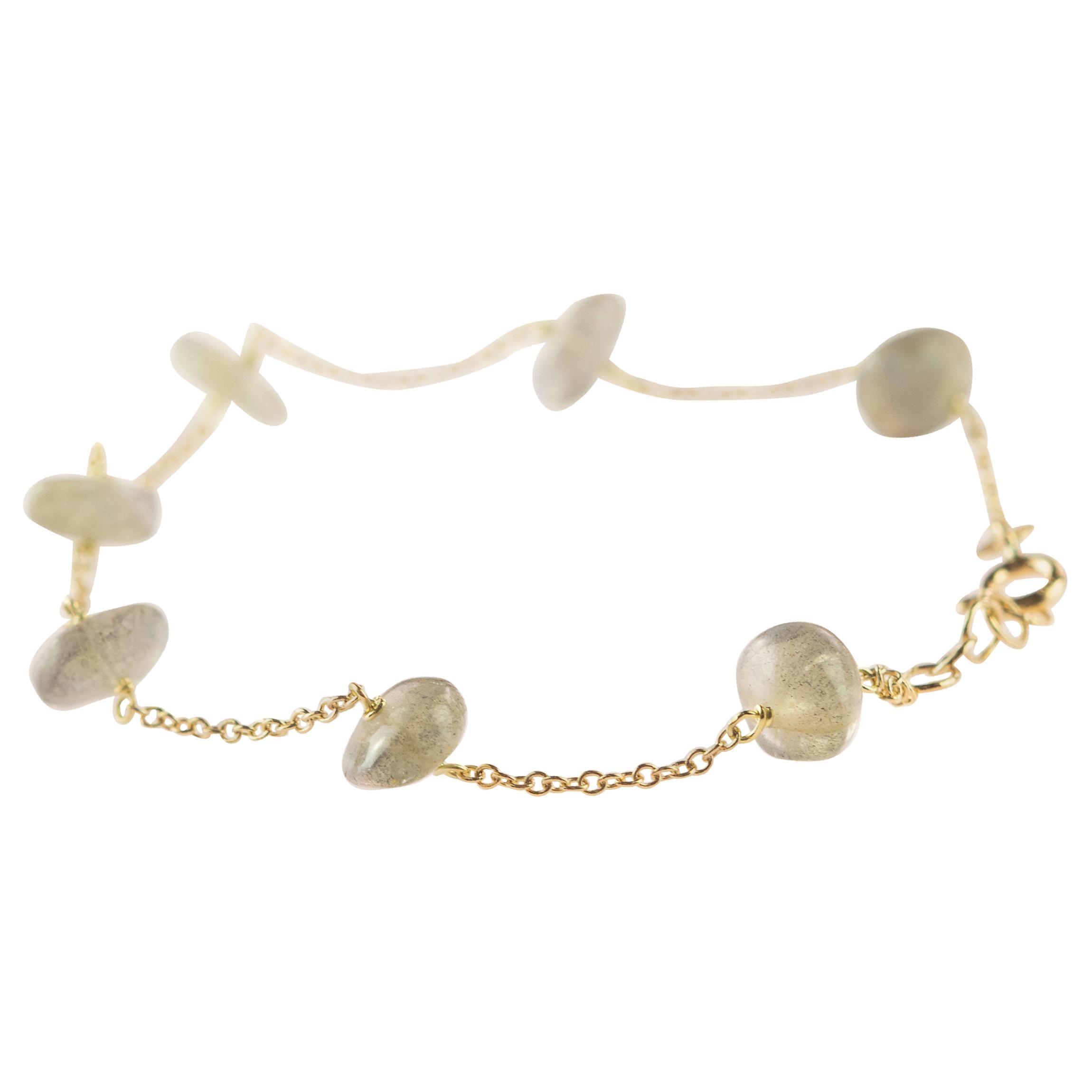 Intini Jewes 9 Karat Gold Chain Cat's Eye Rondelles Handmade Anklet Bracelet