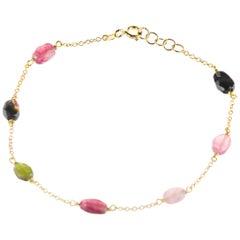 Intini Jewes 9 Karat Gold Chain Tourmaline Oval Colorful Rainbow Anklet Bracelet