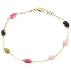 Intini Jewes Gold Plate Chain Tourmaline Oval Colorful Rainbow Ankle Bracelet