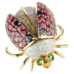 Intini Ladybug Ladybird 18 Karat Gold Sapphire Diamond Ruby Tsavorite Pin Brooch