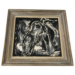 """""""Into The Dark Night I Go"""" Oil on Paper by Irene Rice Pereia Signed '6/21/52'"""