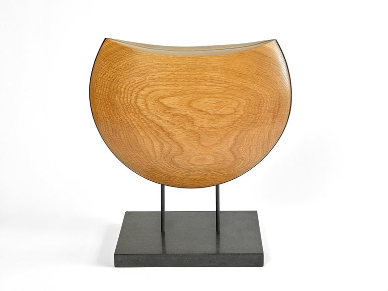 Modern Into the Wind, Hand Carved White Oak and Cocobolo Sculpture on Granite Base For Sale