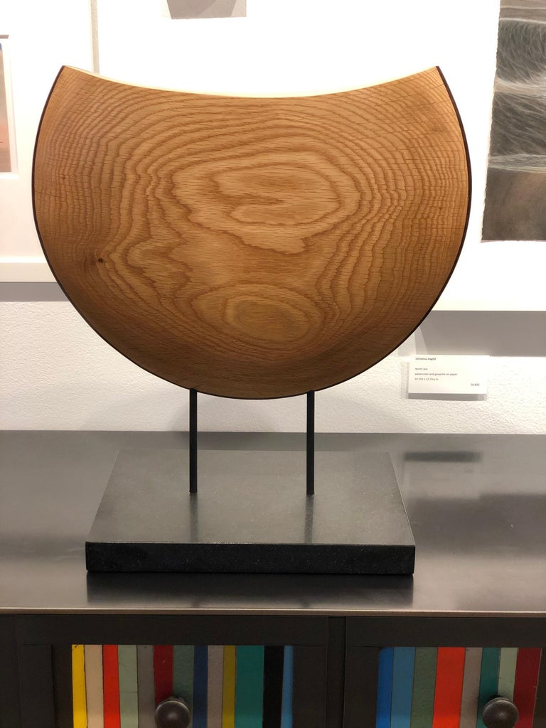 Into the Wind, Hand Carved White Oak and Cocobolo Sculpture on Granite Base In New Condition For Sale In Chicago, IL