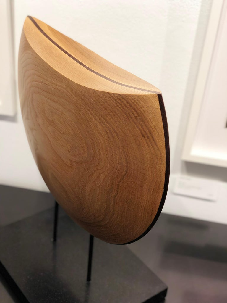 Contemporary Into the Wind, Hand Carved White Oak and Cocobolo Sculpture on Granite Base For Sale